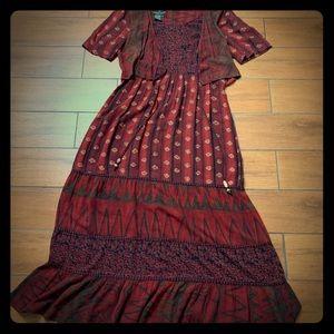 Carole Little Vintage 90s Boho Red Maxi Dress 10
